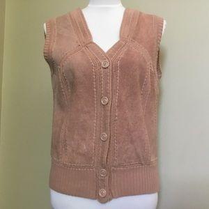 VINTAGE 70s TAMI blush pink Suede sweater vest M